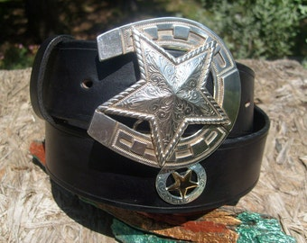 Black Leather Western Belt w/ Star and Horseshoe Buckle and Star Conchos