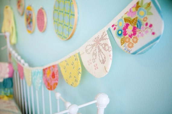 Custom Nursery Decor-  Made to Match Scallop Bunting Flag Banner