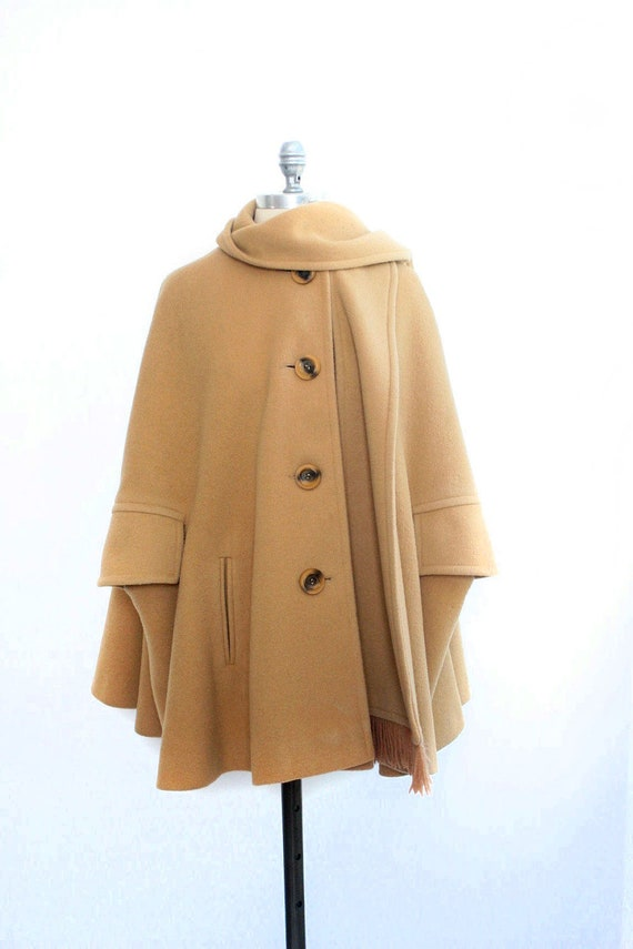 RESERVED for Kate Carmel Wool Cape w/ Scarf - Size Large