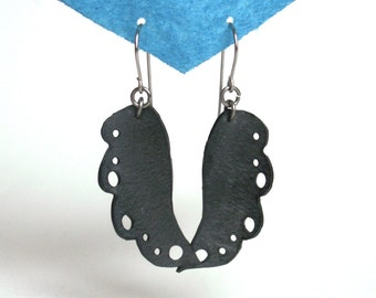 Recycled Inner Tube Earrings - abstract jewelry