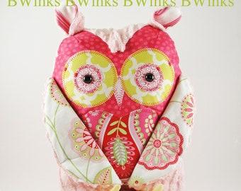 Stuffed owl  - Plush Owl - Owl Stuffed Pillow - Girl - Pink -  BIG BWinks Handmade Owl - The Rebecca Collection