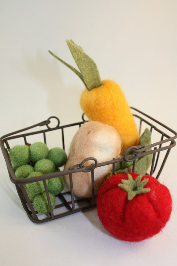 felted wool vegetables with basket  Eco Friendly hand made toy or Eco Friendly decoration