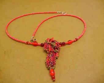 Free form peyote stitch pendant necklace orange