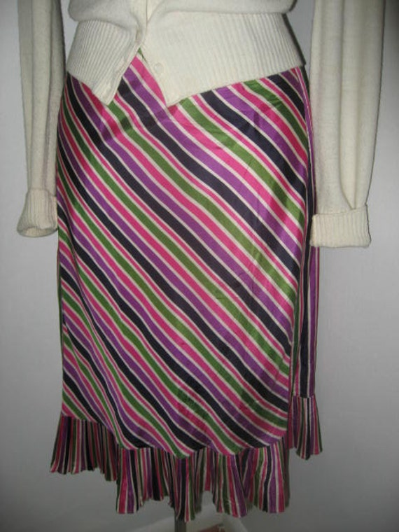 Vintage 1940s Skirt Half Slip Happy Stripes XL XXL 34-36 Waist