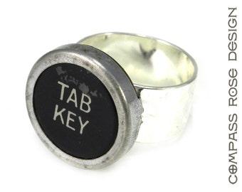 Typewriter Ring - Typewriter Key Ring - Tab Key Ring - Vintage Key Pad - Silver Adjustable Ring