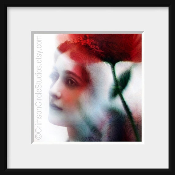 Cultivate the Garden within - 5x5 print, digital montage, vintage feminine portrait, ethereal