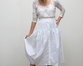 Cotton White Skirt M L, 1980's Button Skirt, Gauzy Boho Festival Skirt Medium Large