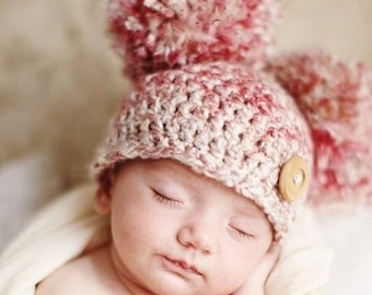 Newborn Girl Hat, Newborn Boy Hat, Crochet Double Pom Pom Baby Hat, Crochet Baby Hat, Pom Pom Hat, Newborn Pom Pom Hat, Newborn Photo Prop