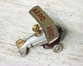 Vintage Silver Wind Up Roller Tin Toy Aero Plane Germany