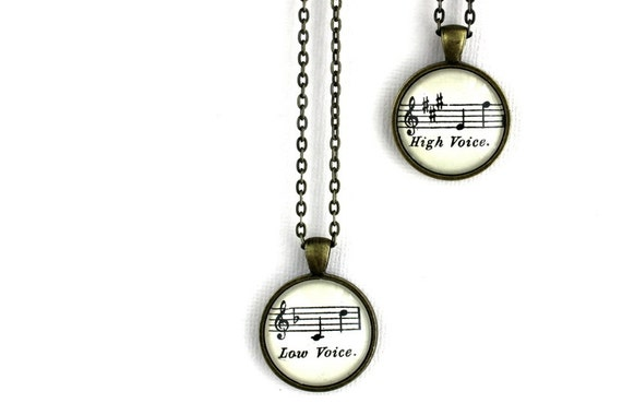 Back to School Sale  Best friend or couples necklace set. Two vintage sheet music necklaces for high voice low voice.