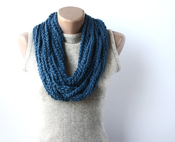 Infinity scarf - blue loop scarf - crochet neckwarmer - circle scarf - gift under 25 - christmas stocking stuffer