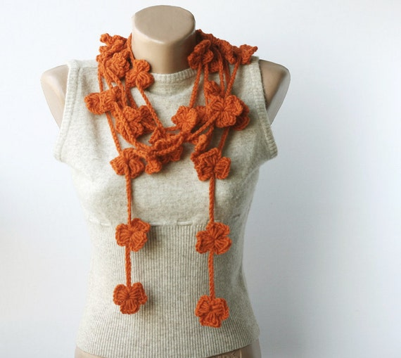 Lariat scarf crochet flower long necklace floral fall fashion