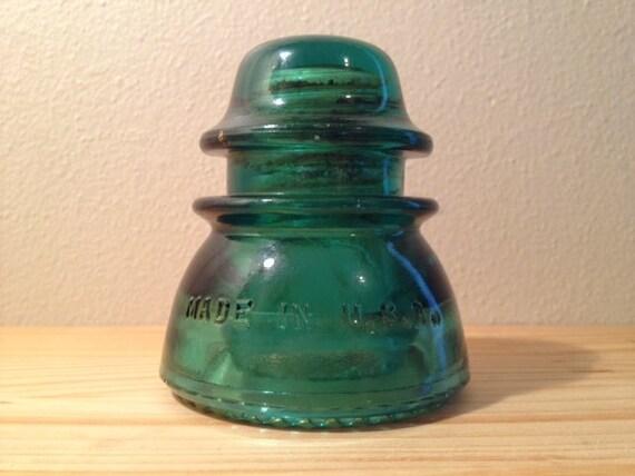 Vintage teal green hemingray 42 glass telephone pole by for Glass telephone pole insulators