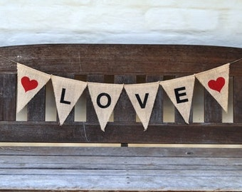 LOVE Hessian Burlap Nursery New Baby Children Celebration Party Banner Bunting Decoration Engagement wedding baby shower