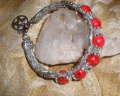SALE~Pentacle Practical Magick Red Turquoise Beaded Bracelet -Tibetan Silver Beaded Clasp Wiccan Bangle - Gift Alert