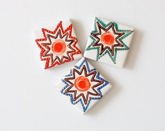Hand Painted Ceramic Tile Magnets - Burst . N1586