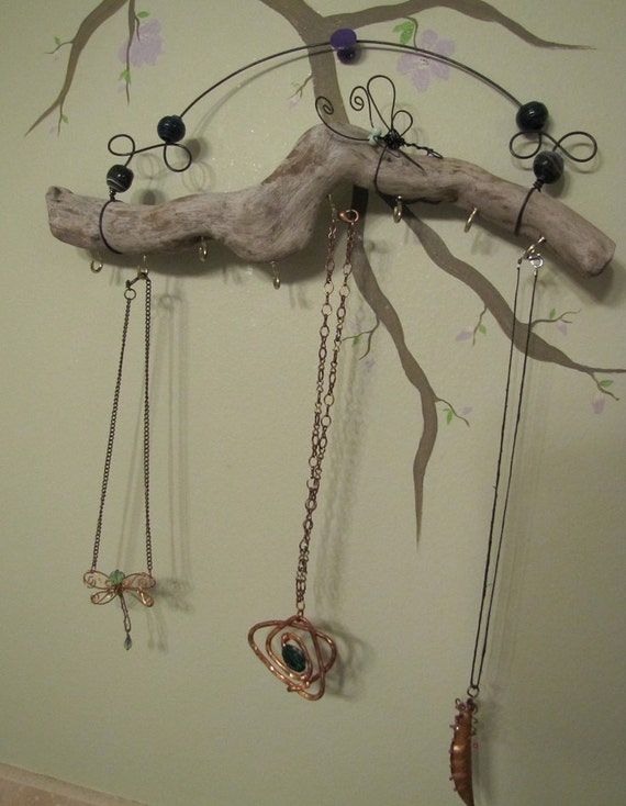 Dragonfly Driftwood Wire and Bead Necklace Jewelry Organizer Key Holder
