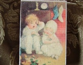 Vintage inspired, Waiting for Santa, Wood Ornament,  distressed white, antiqued, romantic cottage