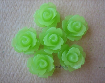 6PCS - Mini Rose Flower Cabochons - 10mm - Frosted - Apple Green - Cabochons by ZARDENIA
