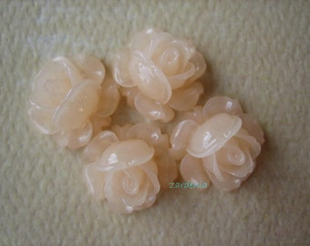 4PCS - Mini Cabbage Rose Flower Cabochons - 12mm - Frosty Peach - Findings by ZARDENIA