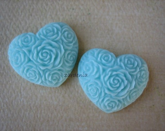 2PCS - Heart Flower Cabochons - Resin - Light Blue - 19x21mm - Cabochons by ZARDENIA