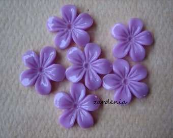 6PCS - Mini Violet Flower Cabochons - 11mm - Resin - Lavender - Cabochons by ZARDENIA