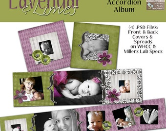 Lavender & Limes 3x3 Mini-Accordion Album- custom photo templates for photographers on WHCC, Miller's Lab and ProDigitalPhotos Specs