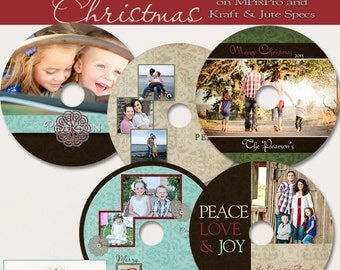 Rustic Christmas CD/DVD Label Collection - Set of 5 custom cd/dvd label templates for photographers on MPixPro and Kraft and Jutespecs