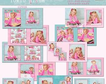 SweetPea 10x10 Photo Album- custom photo templates for photographers on WHCC Specs