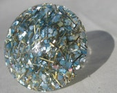 Vintage BIG Confetti Lucite Baby Blue Gold Silver Sparkle Upcycled Ring