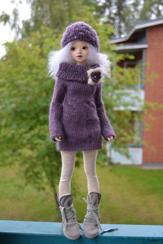 Vintage Violet, sweater dress and hat for slim mini BJD