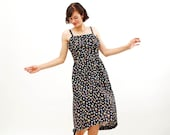 Vintage 1980s Summer Dress - 80s Floral Dress - Navy Blue Calico Print