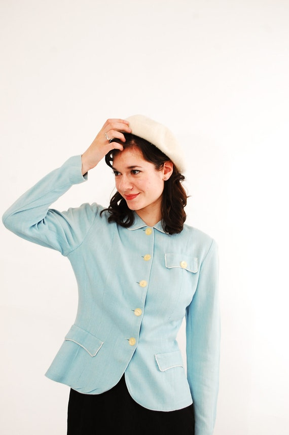 Vintage 1950s Jacket - 50s Summer Jacket - Pastel Blue Linen