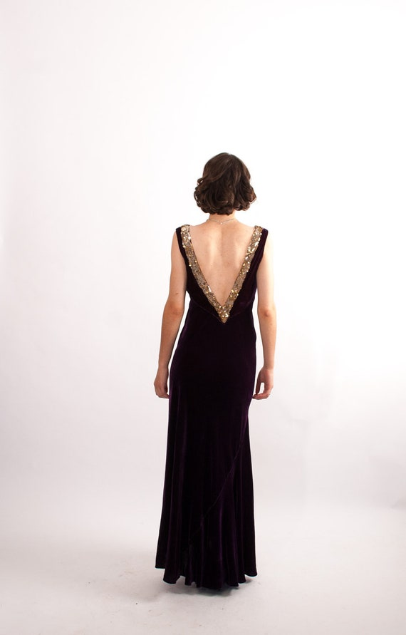 Vintage 1930s Evening Gown - 30s Velvet Gown - Deep Plum with Pewter Sequins
