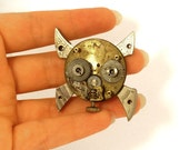 Steampunk Gasmask Skull and Crossbones Pendant or Brooch