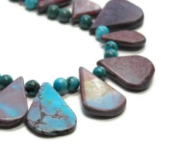 Sierra Sunset Gemstone Necklace with Amazonite, Southwest, Cowgirl, Purple Blue, Statement