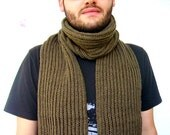 Man Scarf Green Long Scarf for Him, Ready to Ship
