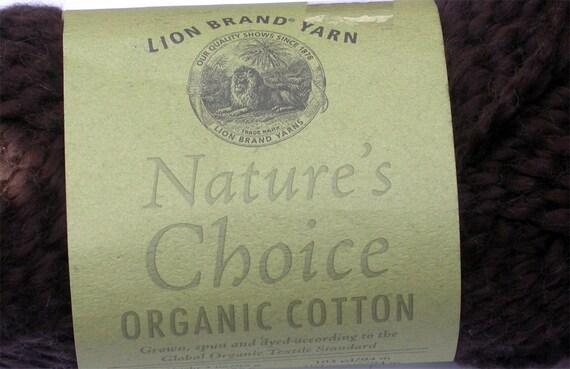 Organic Cotton Yarn, Lion Brand Nature's Choice, 1 skein Espresso Dark Brown, Aran weight, soft, great to knit or crochet