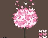 Butterfly Tree Digital Clip Art - Pretty Pink