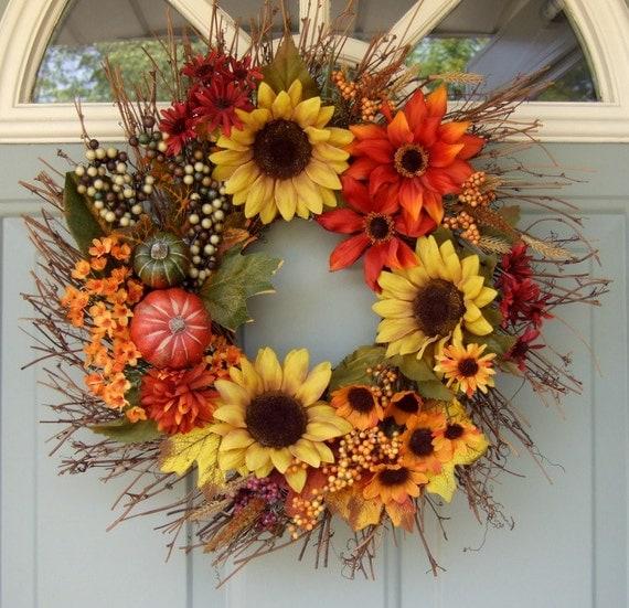 Fall Wreath - Wreath for Fall - Wreath for door - Sunflower Wreath