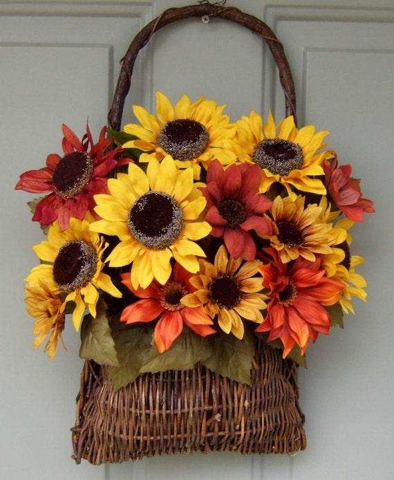Fall Wreath - Wreath for Door - Sunflower Wreath - Sunflower Door Basket - Basket for Door