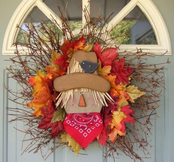 Fall Wreath - Fall Door Wreath - Wreath for Fall - Fall Scarecrow Wreath