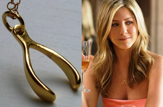 Wishbone necklace, Goldfield Make a Wish Necklace Jennifer Aniston inspired Necklace