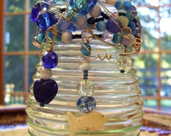 Under The Sea - Wire Wrapped Beaded Jar - Plant Rooter