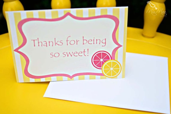 Lemonade Party Thank You Notes - Sweet Pink Lemonade Collection