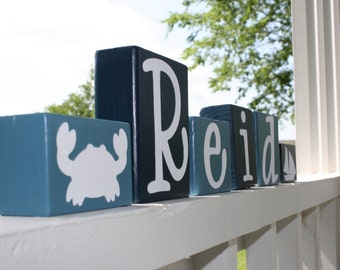 Nautical Room Decor Crab Sailboat Ocean Art Shelf Wood Blocks, Teal & Blue Wooden Letters, Personalized Family Name Gift Ocean Nursery Gift
