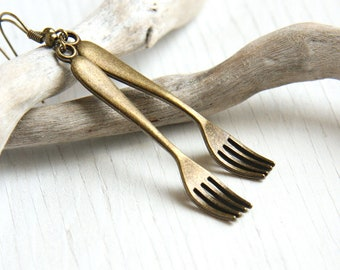 Chef's Vintage Style Earrings Antique Bronze Forks Fun Novelty Earrings Utensils Kitchen Gift for Cook for wife girlfriend jewelry trend