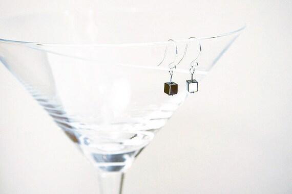 Minimal Earrings, Modern Earrings. Petite Earrings. Hematite Cube Tiny Earrings. Sterling Silver Earrings made in Canada Aries Birthday Gift