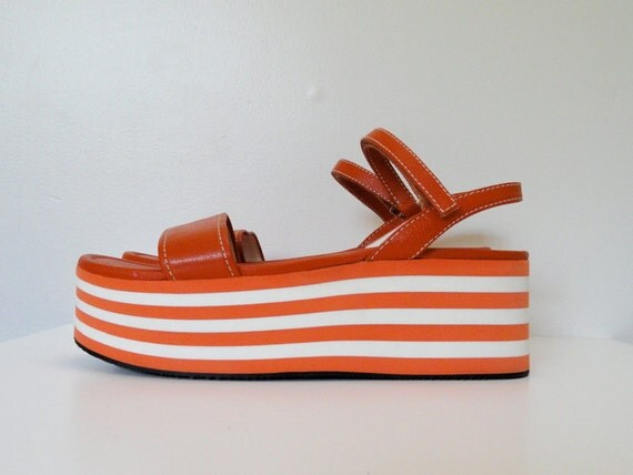 Prada Orange and White Stripe Flatform Platform Sandals Size 9 / 39.5