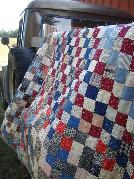 Vintage Cotton Patch Plaid Quilt or Blanket Primitive Shabby Chic